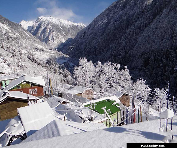 Lachen North Sikkim covered with snow during Winter