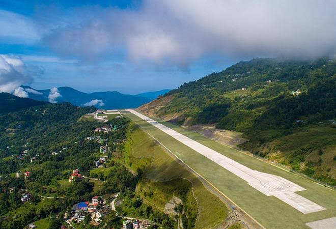 Pakyong airport runway in different angle