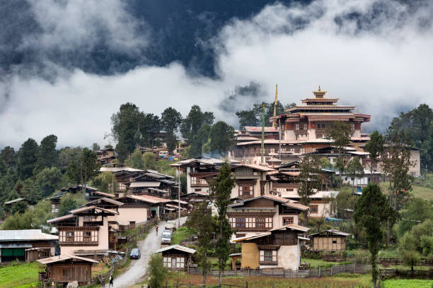 Small town of Gangtey and it's monastery in Stunning Photos of Bhutan